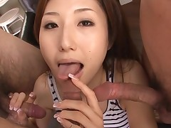 Slut Oriental mom deepthroats large dick and her slit fingered